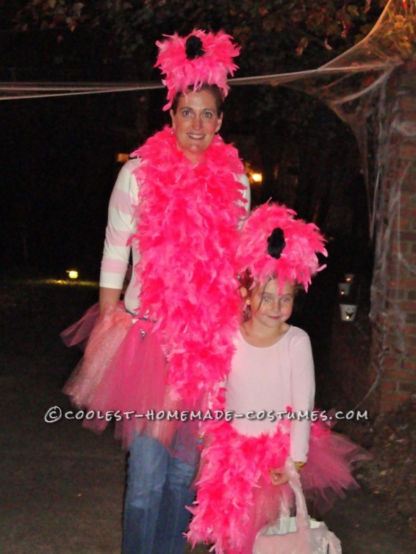 Coolest No-Sew Flock of Flamingos Couple Costume