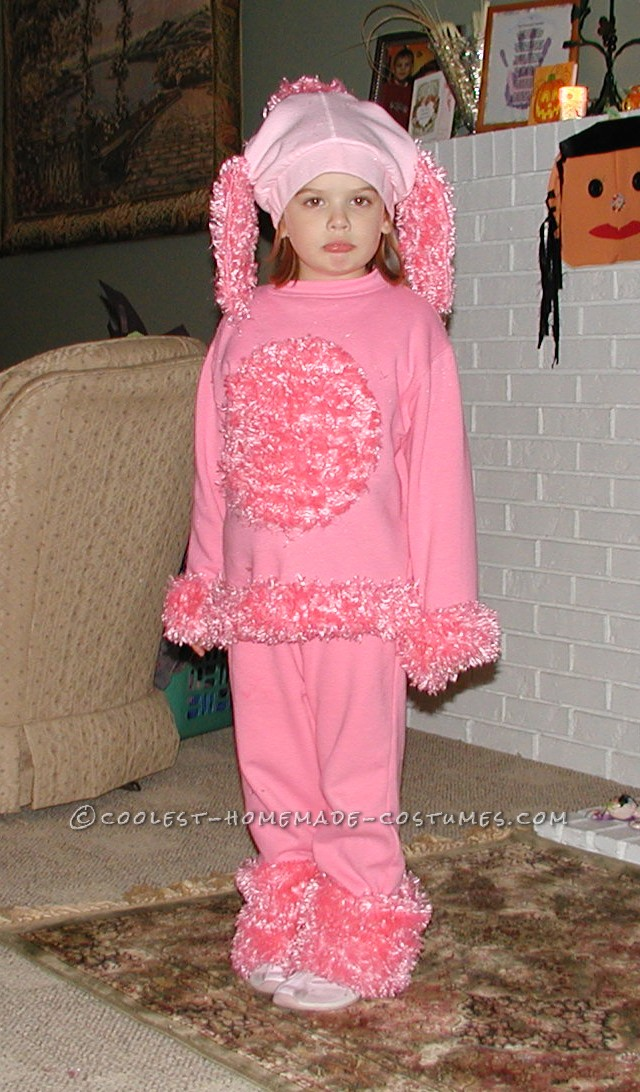 Pink Poodle Costume  My daughter wanted to be pink poodle. It was much easier than I had originally suspected. We started with on