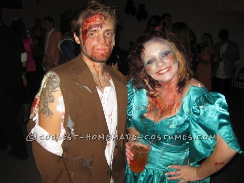We attended an 80\'s prom themed halloween party, located at an old school house.  We created our own costumes, all for around $30. That\'s