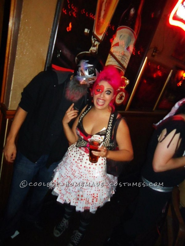 Punk Queen of Hearts Costume Made of All Heart Playing Cards