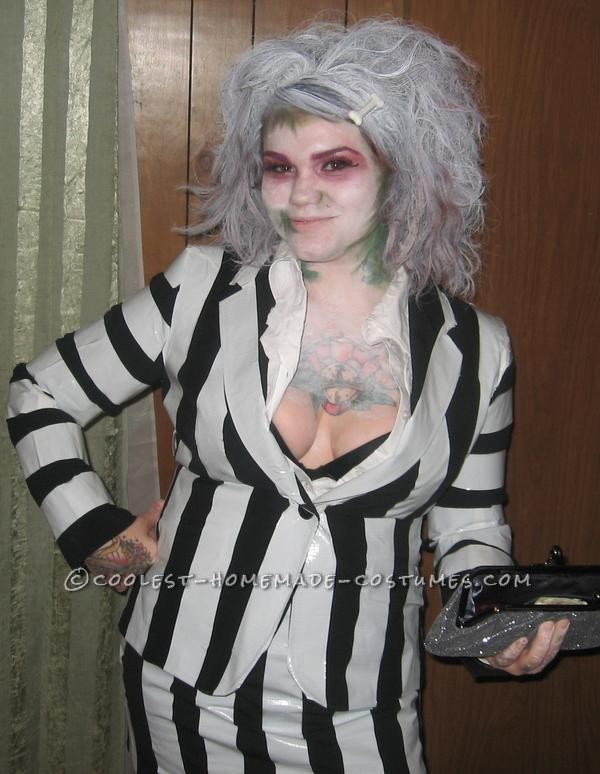 Punk Rock Female Beetlejuice Costume for Halloween