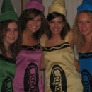 This was my friends and my costume 4 years ago. (I'm Razzmatazz)We started by finding a simple jumper dress pattern. My friend Ashleys mom was the s