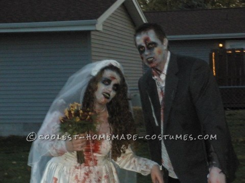 For the groom costume, my husband had an old white shirt that he did not mind getting messed up so we used that, he also had an old tie that he as we