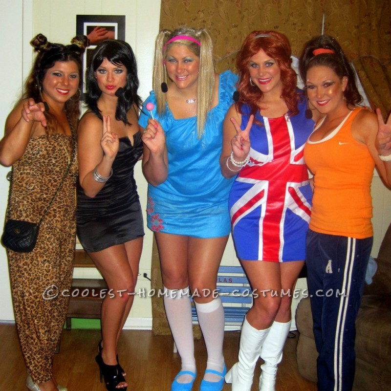 We couldnt think of a good costume idea for a bunch of us to we thought it would be fun to be the spice girls. we went to walmart and got head sets a