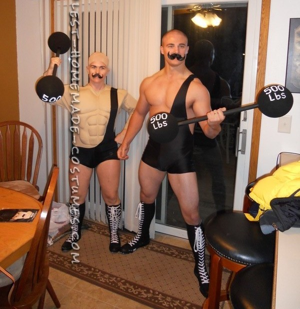 I purchased spandex material, one muscle suit (for female), two mustache's, tall boots, one bald/nude wig,two wooden dowels and four foam ball