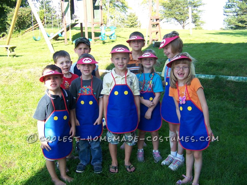 My son was having a Super Mario birthday party and we thought it would be fun if all the kids could dress as Mario. Since we had several kids at the