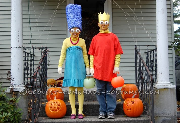 These costumes are from 2010 Halloween and its my brother, Grady, as Bart Simpson and me, Maggie, as Marge Simpson. My mom made both the costumes and