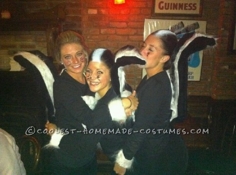smell that? not these skunks. Costume is basic black shirt and leggings with fur whites cuffed around the arms and a heart shape in the front.&