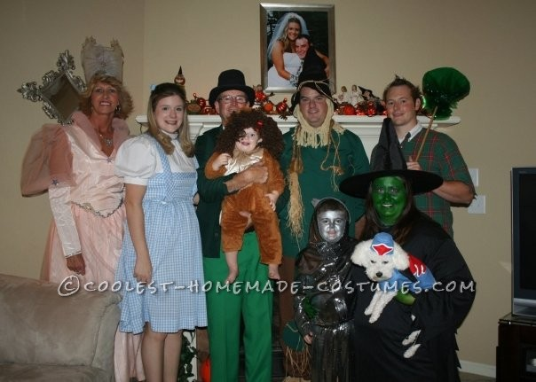 The Dorothy, Scarecrow, and Glenda were rented costumes. For the tinman I used a metallic fabric and used my sons shirt and pants as a pattern to sew