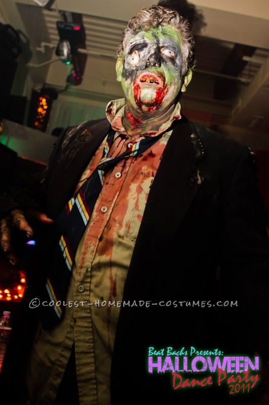 The Zombie costume, first I had to get some old clothes, from the good will. I only spent 13 dollars and I got a long sleeve shirt (pale green), and