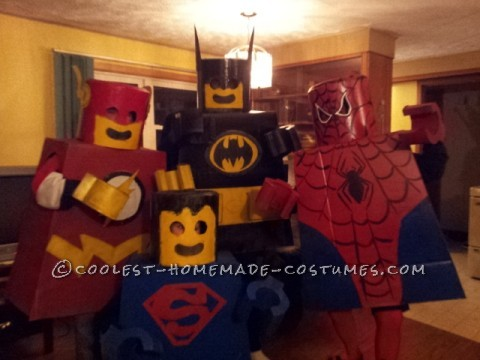 These costumes are fairly straightforward to make. You need a lot of cardboard boxes, sono tubes, spray paint, and your choice of adhesive. I drew a