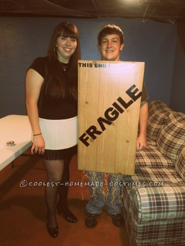 This costume was a hit- and it was inexpensive and pretty easy to make.  For the crate (easiest of the two) we found a big box (one that seem