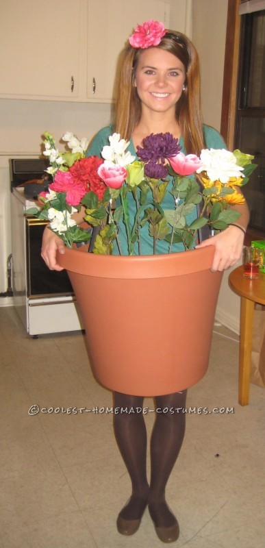 """My friends and I decided to be """"lawn ornaments"""" for Halloween, and they gave me the task of turning myself into a flower pot. I called around to a"""