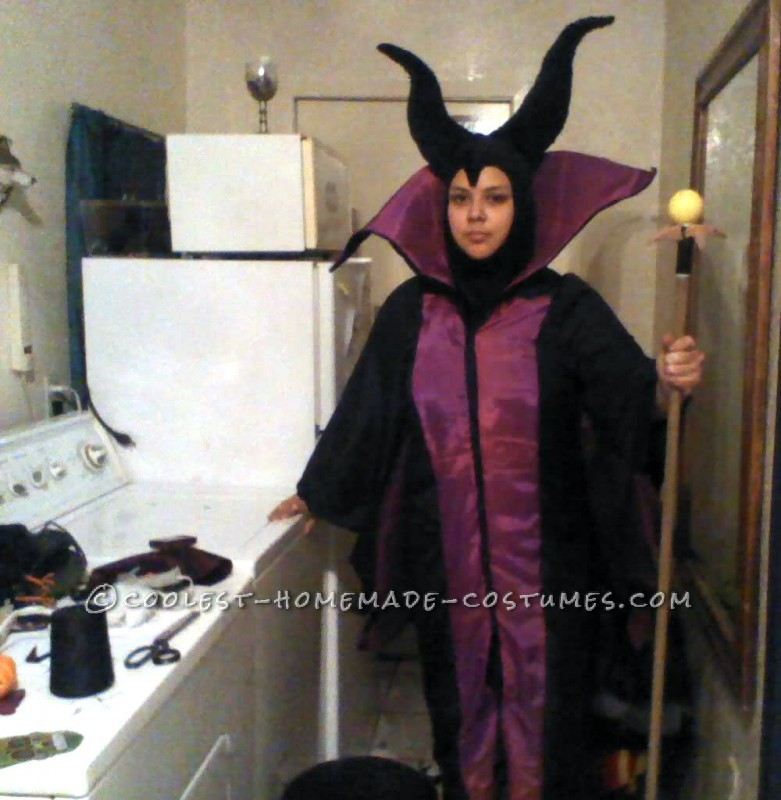 I worked on the Maleficent costume for about a week on and off, everyday. The biggest challenge for me was doing the collar, since I had to fig