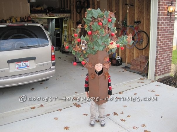 My son has been very creative at coming up with costumes. One year he really wanted to be an apple tree, so we did our best to oblige & thi