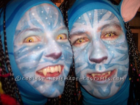 After seeing Avatar I knew right away that that was our next halloween costume!  We had custom made zaneti suits with the blue tiger stripes mad
