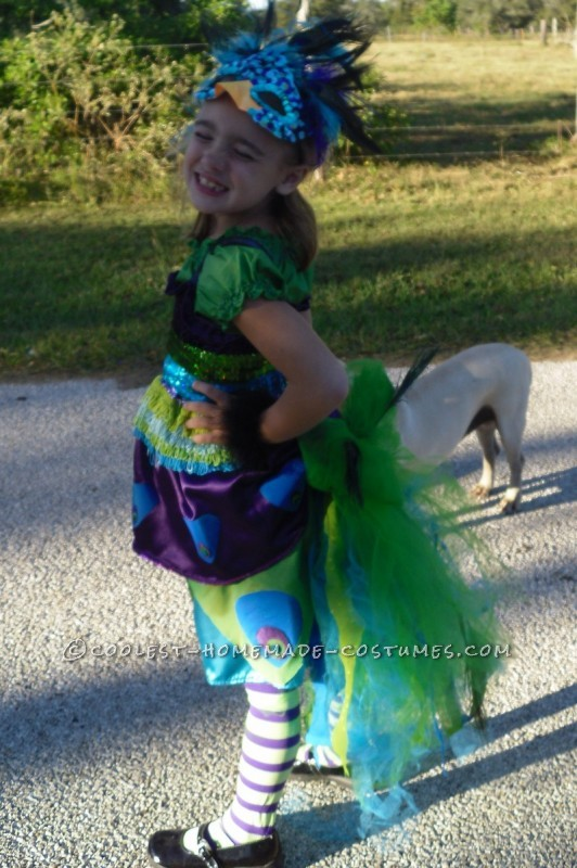 This costume was a labor of love. My lovely daughter Mitrian decided she wanted to be a peacock with a giant tail with real feathers. She