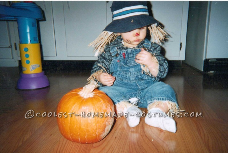 I decided to dress my baby up for Halloween last minute. We had most of the items to make this costume, so it probably cost less than $5. &nbsp