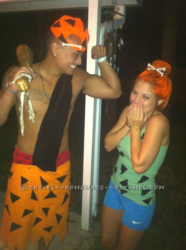 Coolest Homemade Bamm Bamm and Pebbles Couple Costume - 1