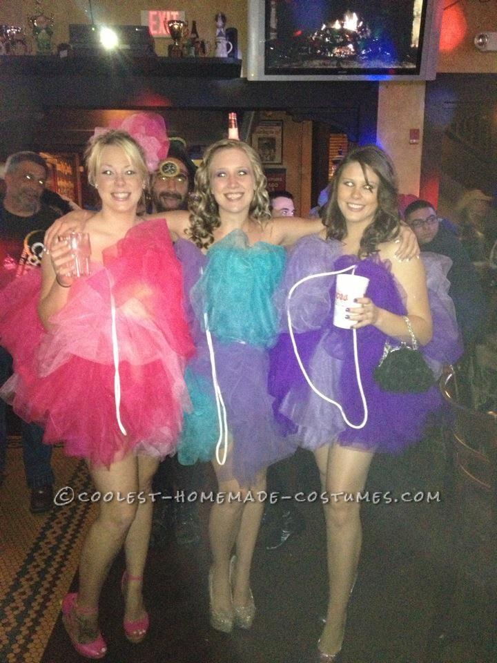 We wanted to do a funny, yet sexy costume for Halloween this year. We made our loofah\'s by buying 20 yards of tulle, a package of 1 inch elastic,