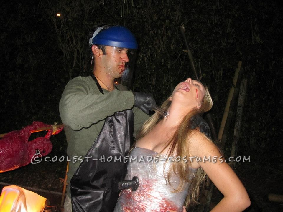 This Dexter and victim costume is very easy to put together. Everyone at the party loved our costumes. Dexter:-Green Long Sleeve Henley Sh