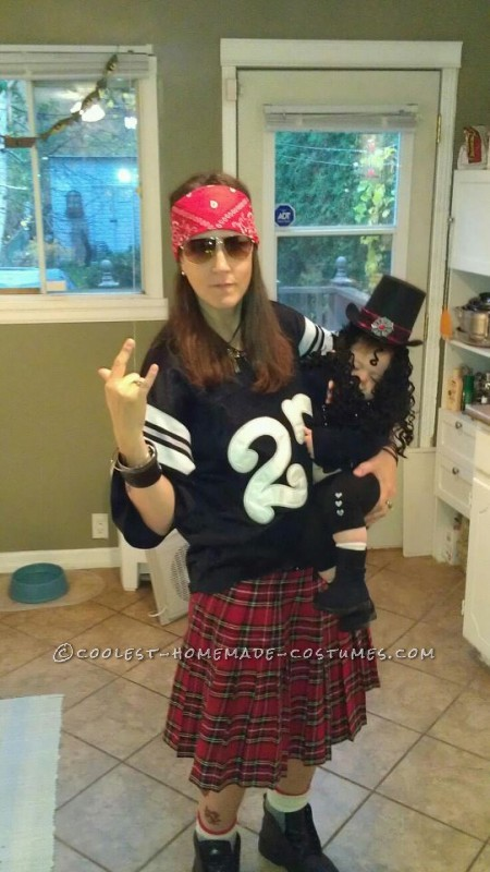 Cute Mother and Baby Guns N Roses Homemade Halloween Costume