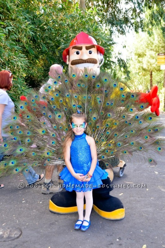 I started off with a dance leotard that my daughter had from a recital.  I got the feathers from friends and an online resource.  Steps to
