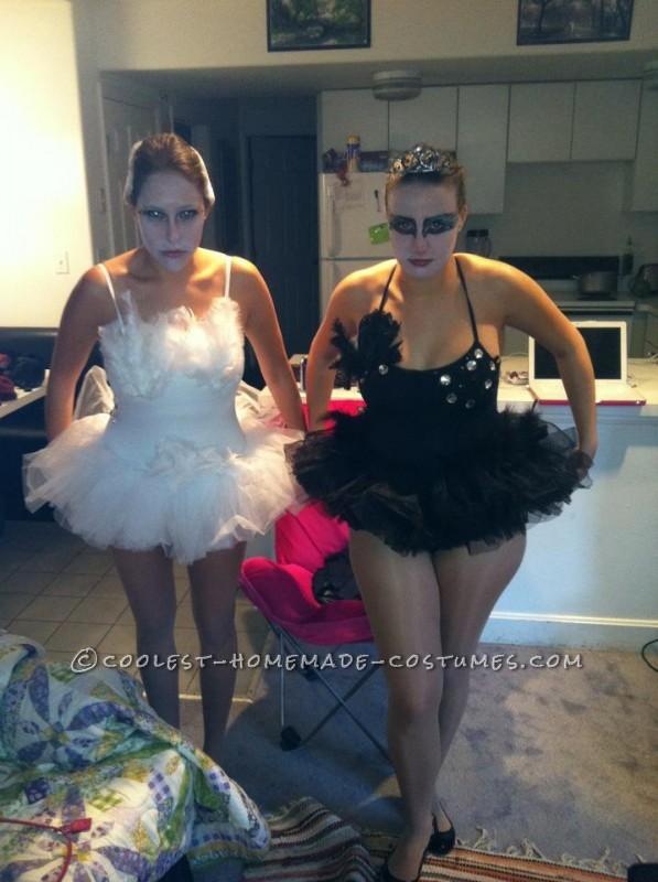 Homemade Black and White Swan Couple Halloween Costume