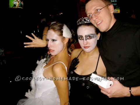 "My best friend and I wanted to a duo costume for Halloween 2011 at Ohio University. We both loved the movie ""Black Swan"" and wanted to go as th"