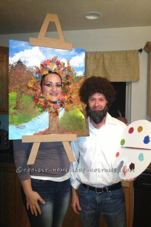 Last-Minute Halloween Couple Costume: Bob Ross and his Happy