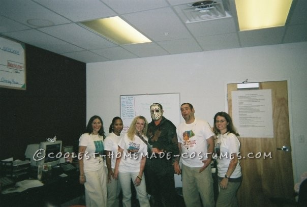 Another year at work, our group went as counselors from Camp Crystal Lake and Jason Voorhees. We found a website where you can design and print out y