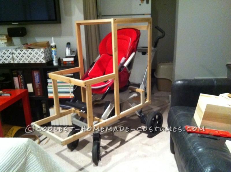 The cedar frame on the stroller