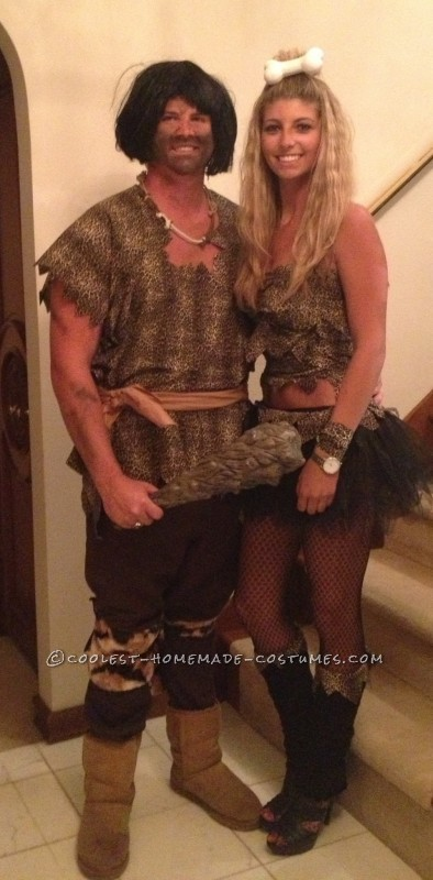 A lot of people thought we were pebbles and bam bam from the flintstones. The costumes were very last minute and easy to make. For the  Cave wom