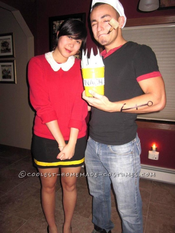Cheap and Easy Popeye and Olive Oyl Couple Halloween Costume - 3