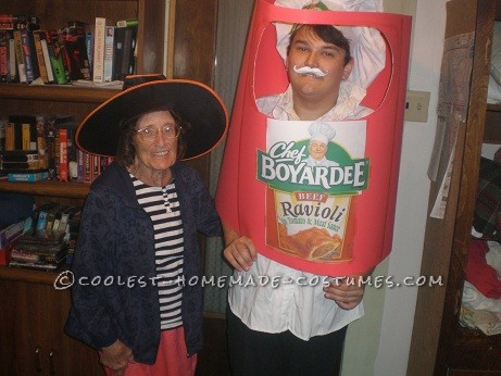 This is my chef boyardee costume, it was pretty easy to make. I already had the chefs and just printed the logo and stapled it to the hat. I bought 4