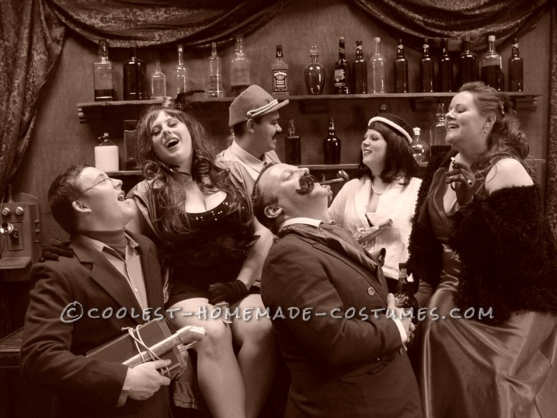 laughing bar pose - sepia tone