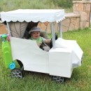 This baby Golfer in a Golf Cart stroller costume is so easy, all I used was: Single Stroller, large sheets of card board , several different si