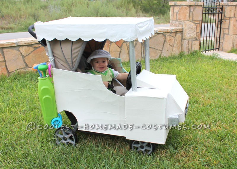 stroller golf cart with toy golf clubs