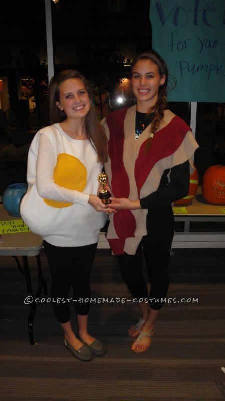 We decided we wanted to go as a pair this year to an annual costume contest party. Bacon and eggs was the perfect idea! We bought felt from hobby lob