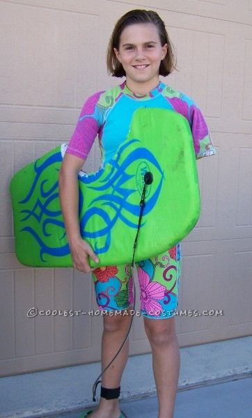 We love Bethany Hamilton. She is a positive role model and a true inspiration. My daughter decided to honor her by being her for halloween. It was a