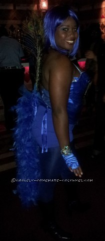 This costume was inspired by favorite color blue. I purchased a white corset from fredricks and covered with blue ribbon. The peacock feathers I took