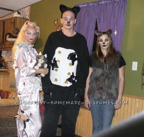 We got a lot of laughs for these costumes! For the Crazy Cat Lady I used a pajama with cats on it that I already owned and sewed all my daughters st
