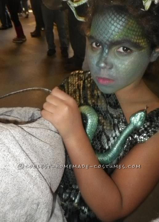 For my daughters Halloween costume she wanted to be Medusa. This was actually a fairly simple costume (no sew)to put together. The