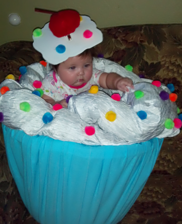 This is my baby girl's first halloween and I wanted her to have a really cute costume. I always sing the lil cuppycake song to her and we even call