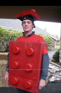 I made a Lego Man costume for my fiance in 2010. It was very cheap, easy and everyone loved it! The hardest part was waiting for the paint to dry!