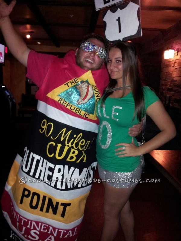 Original Homemade Southernmost Point and Mile Zero Couple Halloween Costumes - 4