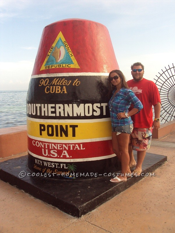 Original Homemade Southernmost Point and Mile Zero Couple Halloween Costumes - 1