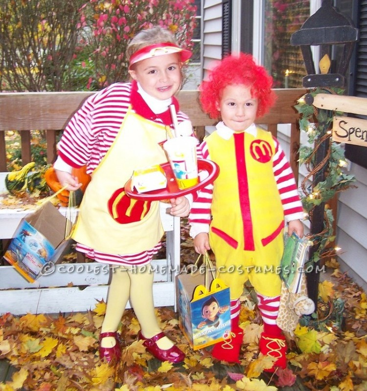 Fun Kids Couple Costume: Ronald McDonald and His Little Server Girl