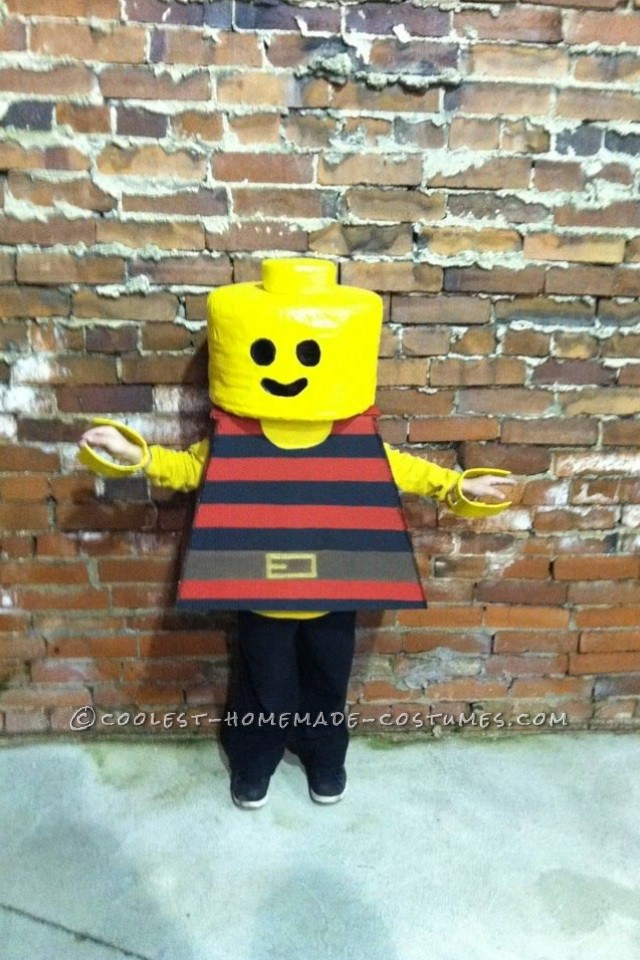 I home make my son's costumes every year. So when my 6 year old said he wanted to be a Lego man for Halloween, I was up for the challenge