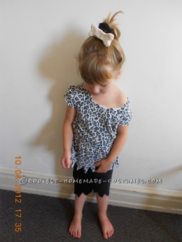 4yr old Pebbles - Pants were hand-sewn out of felt material. (Measurements were made by guesswork) Top - Oversized leopard print T-shirt cut up. And